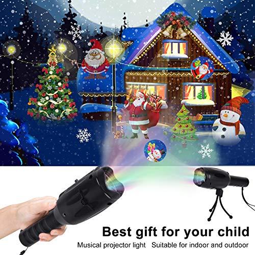 (Outgeek Musikalisches Weihnachts LED Projektorlicht, Kids Handheld Decoration Party 2 in 1 Wiederaufladbare Taschenlampe mit Stativ, 12 Muster für Geburtstags Danksagungs Weihnachten Neujahrsfest)