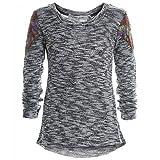 Mädchen Bluse Shirt Pullover Langarmshirt Longsleeve Sweatshirt T-Shirt 20169, Farbe:Schwarz;Größe:116