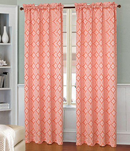 on Oasis jacquard Rod Pocket Vorhang Fenster Panel, 137,2 x 213,4 cm, Neon Orange ()