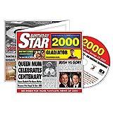 2000 GEBURTSTAGS-STERN Retro Gruß-Karte u. CD Geschenk - 2000 Musik-Diagramm-Schlag-Zusammenstellung CD u. Jahr-Gruß-Karte 6 x 5.5 Zoll
