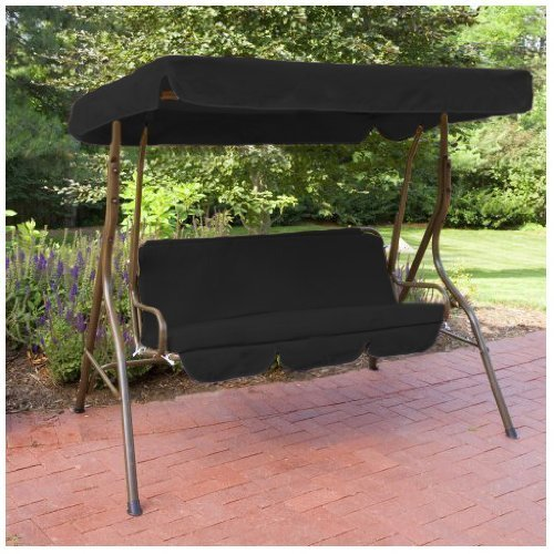 Shopisfy Waterproof Replacement 3 Seater Canopy Cover Bench Pad Set ONLY For Swing Seat