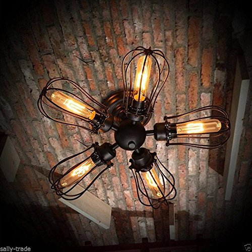 Retro Weinlese-industrielle 5 Birnen-hängende Lampe Steampunk Decken-Kronleuchter-Licht -