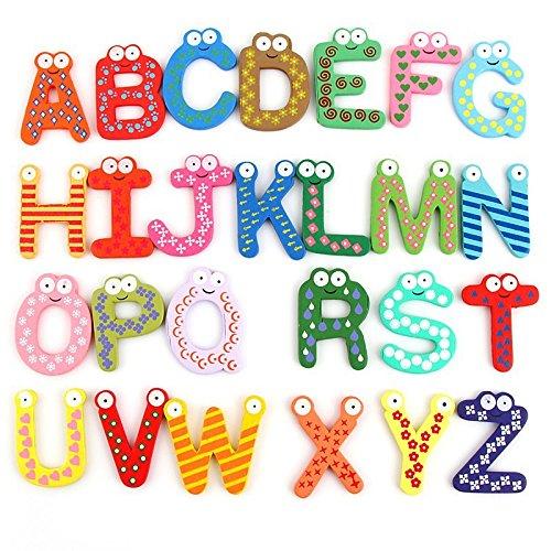 Gold Leaf Colorful Wooden A-Z Alphabet Letters Fridge Magnets Magnetic Stickers (Set of 26)