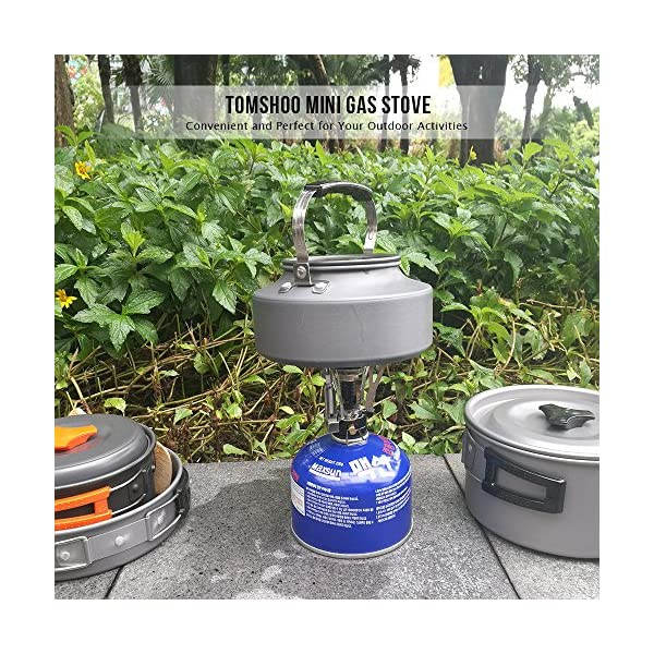 TOMSHOO Camping Stove/Backpacking Stove and windshield Backpacking Stove for Outdoor Hiking Picnic BBQ 7