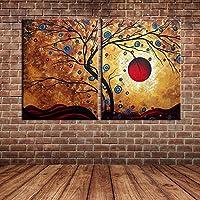IPLST@ Moderna dipinta a mano pittura di paesaggio Tree Beach Tramonto olio su tela, di grande arte della tela di canapa per Wall Hanging Decorazione - Set di 2 (Nessuna cornice, senza barella)