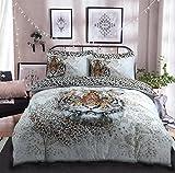 Pieridae mehrfarbiger Bettbezug mit Tiger-Design, pflegeleicht, anti-allergisch, weich und glatt, mit Kissenbezügen., Polybaumwolle, multi, Einzelbett