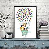 DIY Fingerabdruck Unterschrift Dekorative Malerei Kind Geburtstag Tier Cartoon Heißluftballon Party Party Leinwand Gemälde,40x60cm