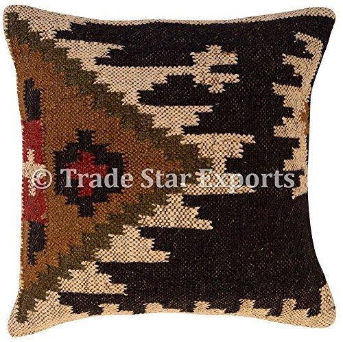 Tradestar Kilim - Funda de almohada 18 x 18, cojines hechos a mano, almohada Kelim, funda de cojín...