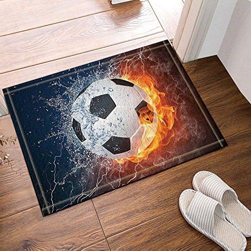 fdswdfg221 Sport Dekor Fußball auf Feuer Wasser Flamme Bad Teppiche Rutschfeste Boden Eingänge Outdoor Indoor Haustürmatte, Badematte