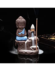 eCraftIndia Meditating Monk Buddha Smoke Backflow Cone Decorative Incense Holder (7 cm x 7 cm x 12, Blue)