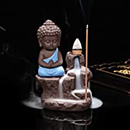 eCraftIndia Meditating Monk Buddha Smoke Backflow Cone Decorative Incense Holder (7 cm x 7 cm x 12, Blue)
