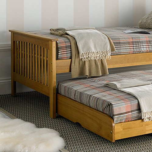 Happy Beds Amelia Pine Wooden Guest Bed and Trundle with 2 Pocket Sprung Mattresses- 3FT Single