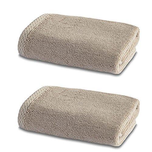 Linge de Bain en Bambou - Double Pack - 2 x Superbes Bambou Petits Carrés de Toilette - 600g/m² - Café au Lait - 30cm x 30cm