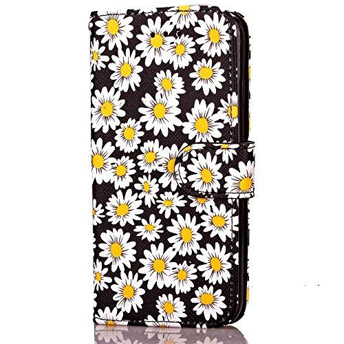 iPhone Case Cover IPhone 7 Case Cover Fleurs motif d'impression Magnetic Side Buckle Design Folio stand affaire avec portefeuille Fonction PU Leether TPU Soft Cover pour Apple IPhone 7 4.7 pouces ( Co Black