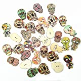 efab gemischt viele Stile Retro Totenkopf Holz Knopf 2Löcher groß Holz Knöpfe 25mm für Nähen und,, holz, Mix-skull-100pcs, Large