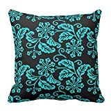 Bags-Online Flower Leaf Printed Black and Turquoise Teal Floral Pattern Throw Pillow Case Covers Design Home Sofa Decorative Square