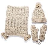 ZZHF Guantes de Bufanda de sombrero de invierno de mujer Guantes de lentejuelas exquisitos tejidos a mano Juegos de tres piezas de Engrosamiento de sombreros de punto 4 colores opcionales Bufandas de seda ( Color : B )