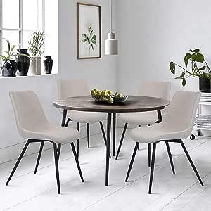Set di 4 sedie Sala da Pranzo Cucina Tessuto Seduta Piedi in
