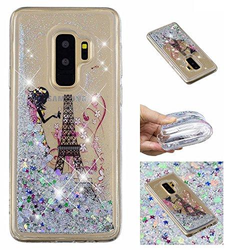 üssigkeit Hülle für Samsung Galaxy S9,Mädchen Turm kreativ 3D Gemalt Muster Handyhülle,Bling Treibsand Liebe Herz Fließend Weich TPU Schutzhülle ()