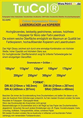 Beidseitig 125 Blatt Fotopapier Colour Laser SRA3 350g /m² doppelseitig hochglänzend (High Glossy) Einzigartigem Glanzeffekt mit hoher Weiße + Glätte für Farblaserdrucker Farbkopierer Laserdrucker Kopierer Canon Medium Format