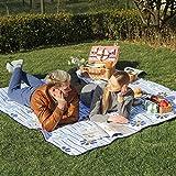 SONGMICS Outdoor Beach Picnic Blanket Rug Mat with Waterproof Backing 200 x 200 cm GCM70YQ