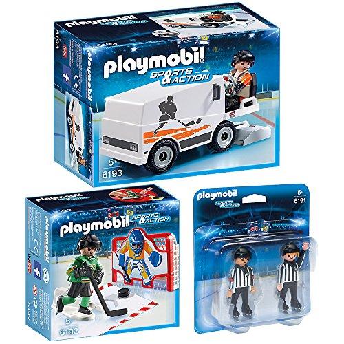 PLAYMOBIL Sports & Action Eishockey 3er Set 6191 6192 6193 Schiedsrichter + Tortraining + Eisbearbeitungsmaschine