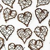 Rattanherzen als Streudeko für die Tischdeko bei der Hochzeit, Weihnachten, romantische Deko Herzen für Valentinstag, Heiratsantrag, 20 Stck.