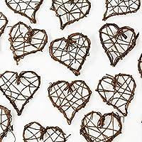 Rattanherzen als Streudeko für die Tischdeko bei der Hochzeit oder Liebeserklärung, romantische Deko Herzen für Valentinstag und Heiratsantrag, braun