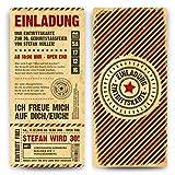 Einladungskarten zum Geburtstag (40 Stück) als Eintrittskarte im Grunge / Vintage-Look Ticket Karte