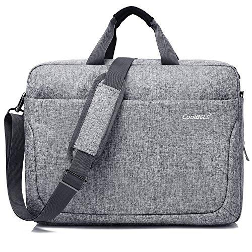 CoolBell 17,3 Zoll Laptop Tasche Multi-Fach Messenger Bag Business Aktentasche Arbeitstasche Nylon Notebook Schultertasche Umhängetasche für Laptop/MacBook/Männer/Frauen(Grau) -