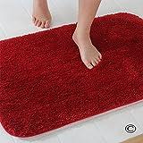 Dada Badteppich Badezimmer Teppich Rutschfest saugfähig Luxus flauschig weich Mikrofaser 50x 80cm, grau–3Größen 5Farben erhältlich, Microfaser, rot, 60×90