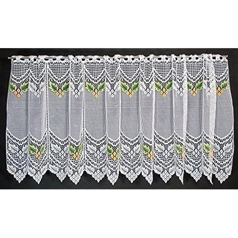 Tenda della finestra con grossa foglia verde/arancio | Può scegliere la larghezza in segmenti da 26 cm, come vuole | Colore: Bu