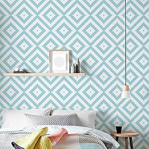 Geometrisches Muster Tailorable Wallpaper Home Art Decor Selbstklebendes wasserdichtes umweltfreundliches PVC 122 * 53cm , blue