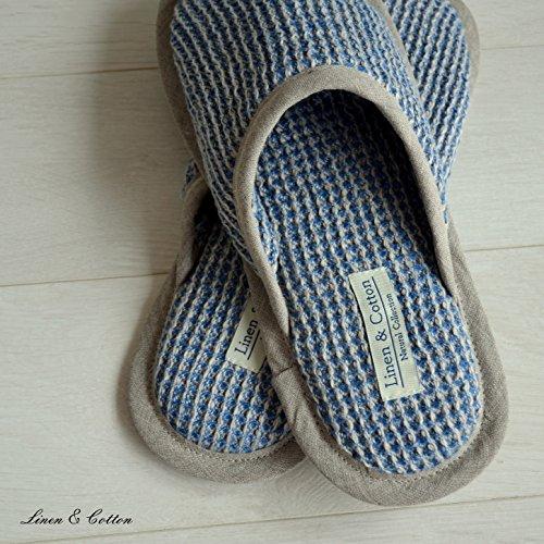 Damen Hausschuhe Blau Cotton Linen Herren Pantoffeln amp; Leinen FctwpOg