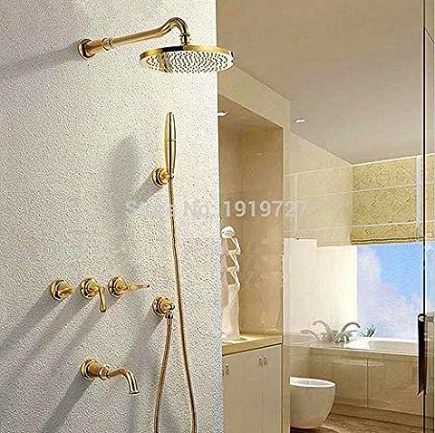 AllureHome Le nouveau design 100% laiton d'or set de douche billes breveté joint 8 pouces de pluie robinet de douche