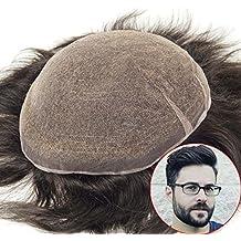 lordhair Toupee para hombres densidad media S7 M negro sistemas de pelo pieza de pelo de
