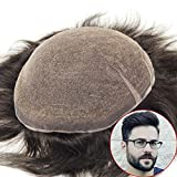 lordhair Toupee para hombres densidad media S7M negro sistemas de pelo pieza de pelo de repuesto # 1B