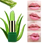 Volwco Aloe Vera Natural Color Changing Jelly Lipstick Long-Lasting Moisturizing Balms Temperature Change Lip (Green)