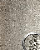 Wandpaneel Leder WallFace 12893 LEGUAN Design Blickfang Deko selbstklebende Tapete Wandverkleidung silber-grau | 2,60 qm