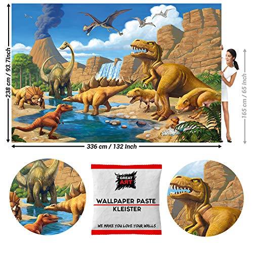 GREAT ART Fototapete Dinosaurier Prehistorische Reptilien Animal Cartoon Tapete für Kinder Dinosour Wallpaper 336 x 238 cm - Kindertapete 8 Teile Tapete inklusive Kleister