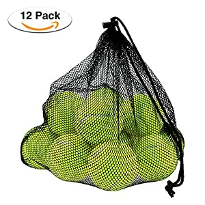 Philonext 12 Pcs Tennis Balls with Mesh Carrying Bag, Pressureless Tennis Balls Practice Balls Playing with Pets Sports Bucket Balls for Easy Transport Review 2018