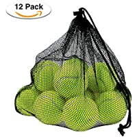 Philonext 12 Pcs Tennis Balls with Mesh Carrying Bag, Pressureless Tennis Balls Practice Balls Playing with Pets Sports Bucket Balls for Easy Transport