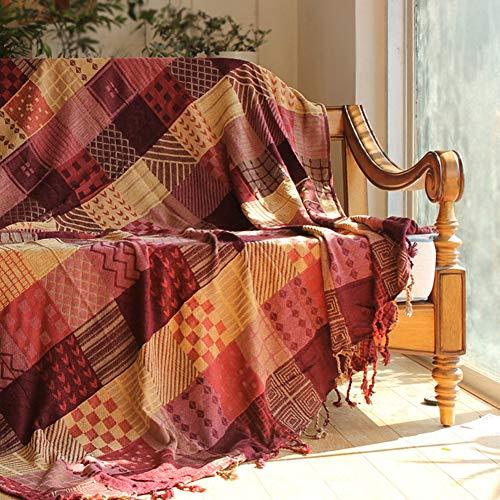 Screenes Baumwolle Stricken Sofa Decke Retro Dekoration Sofa Abdeckung Slipcover Leicht Einfacher Stil Sofa Throw Für Wohnzimmer Blau 150X190Cm(59X75Inch) (Color : Rot, Size : 150X190Cm)