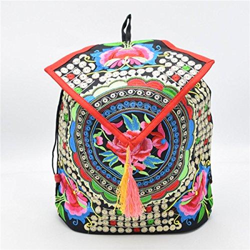 Damemädchensegeltuch-Rucksack Gedruckt Ethnic Schule Shouldre Tasche Reisetasche Multicolor 08