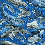 Fat Quarter Wal Uhr Delfine, Baumwolle, 50 x 55 cm-Nutex