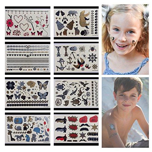 Twink Designs temporären Tattoos für Kinder - 166 Tattoos auf 8 Blatt Party Favors Geburtstag Party Supplies und Goodie Bags - 8 Seiten des metallischen temporäre Tattoos - für Jungen und Mädchen