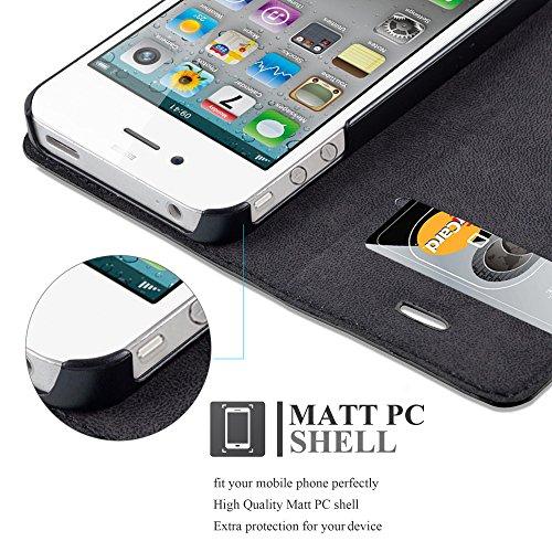 Apple iPhone 4 / 4S Hülle in CAPPUCCINO-BRAUN von Cadorabo - Handy-Hülle mit unsichtbarem Magnet-Verschluss Standfunktion und Karten-Fach Case Cover Schutz-hülle Etui Tasche Book Klapp Style NACHT-SCHWARZ