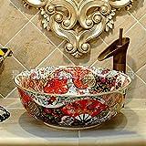 Fregadero, Lavabo de baño de cerámica, Lavabo de granada con forma de flor, Lavabo de baño, Barco montado sobre un banco