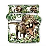 Stillshine Housse de Couette et Taie D'Oreiller Dinosaure Animal 3D Microfibre Douce Parure de Lit...