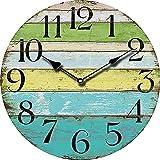 Orologio da Parete Colorato in Legno d'epoca Strisce Colorate Stile Rustico per Cucina / Ufficio / Camera da Letto 34 cm da Pingenaneer